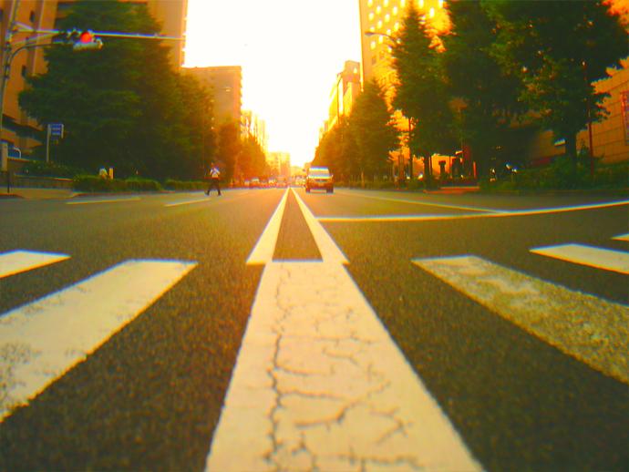 魚眼レンズ作例 車道